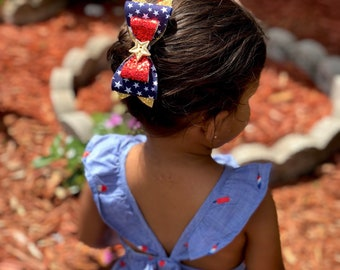 SUPER HERO BOW, Glitter Bow, Baby Headband, Toddler headband, Womder Woman, Red white and Blue,Fourth of July, Felt Headband, Hair Bow