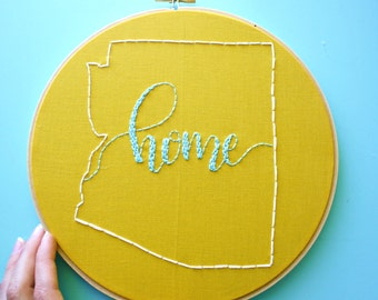 YOU CHOOSE Custom State Embroidery Hoop Art Home Sign,State Art,Housewarming Gift,Personalized Gift,Home State Love,Home Sweet Home Art