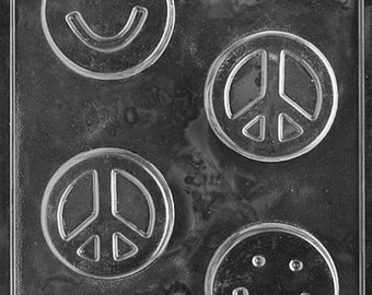 Smiley Face Peace Bar Kids Soap Mold (K113)  With Soap Molding Instructions
