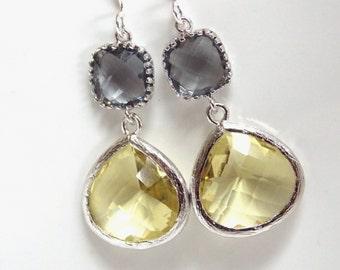 Yellow Earrings, Gray Earrings, Grey Earrings, Silver Earrings, Drop, Dangle, Citrine, Bridesmaid Earrings, Bridal Jewelry, Bridesmaid Gifts