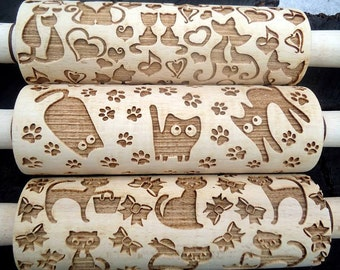 Engraved rolling pin Family gift Gift womens Embossing rolling pin Cat pattern Loves cats gift Pattern rolling pin Cats cookie embosser