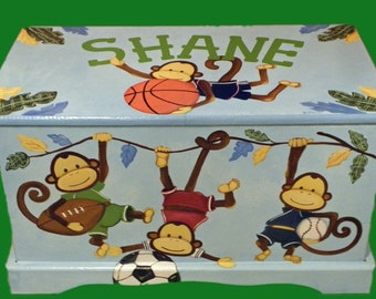 Custom Designed  Monkey Team Safari Toy box  hand painted hand made done with Monogram or Name, kids furniture, art and decor wooden toy box