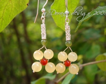 FLOWER CHILD COLLECTION - myBouquet Beaded Floral Design Aragonite, Carnelian, Nephrite Jade, & Sterling Silver Earrings Handmade by Dorana