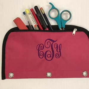 NEW Back To School Monogram Pencil Cases, 3 Ring Binder Pencil Pouch, Personalized Zipper Pouch, School Supplies, Small Bag, Organizer