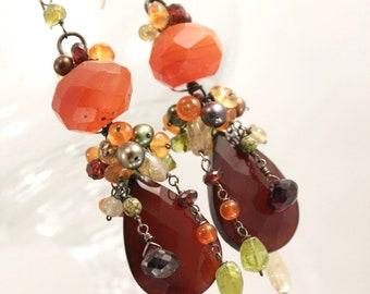 SALE Gemstone cluster earrings - rich, vibrant, warm autumn colors carnelian, garnet, quartz, pearls orange green yellow