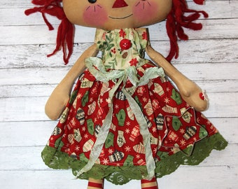 Christmas Mittens and Snowflakes Emma Anne - Primitive Raggedy Ann Doll