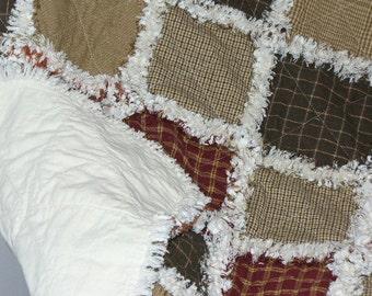 Custom Rag Quilt, Large Crib Size Rag Quilt, Baby Rag Quilt, Homespun Rag Quilt, Primitive Rag Quilt, Farmhouse Quilt, Rag Quilt