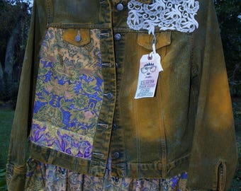 Boho Jean Jacket, one of a kind Art to Wear