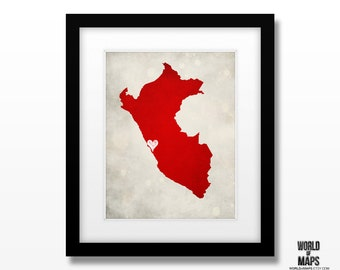 Peru Map Print - Home Town Love - Personalized Art Print Available in Multiple Size and Color Options