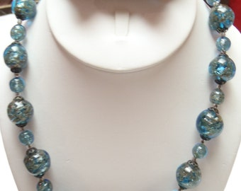 """Vintage Handmade 18"""" AUTHENTIC Murano Glass Bead Necklace and Earring Set From Italy"""