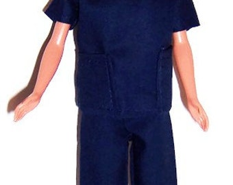 Navy Blue Two Pocket Scrub Set for Fashion Dolls