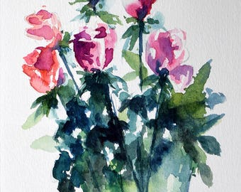 Original Watercolor Flower Painting, Red Roses Floral Painting, Flowers in A Vase 6x8 Inch