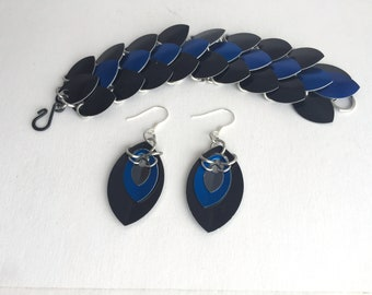 Tri Scale Bracelet and Earring Combo