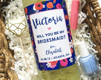 Bridesmaid Wine Label- Floral Be My Bridesmaid- Ask Bridesmaids