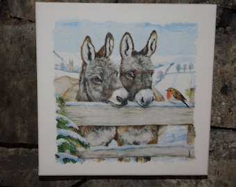 """Square chalkboard theme """"2 donkeys and the Robin"""""""