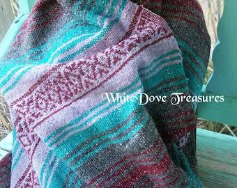 "Vintage Mexican Falsa Blanket ~ Acrylic Woven ~ 76"" x 50"" ~ Southwest Decor ~ Boho Blanket"