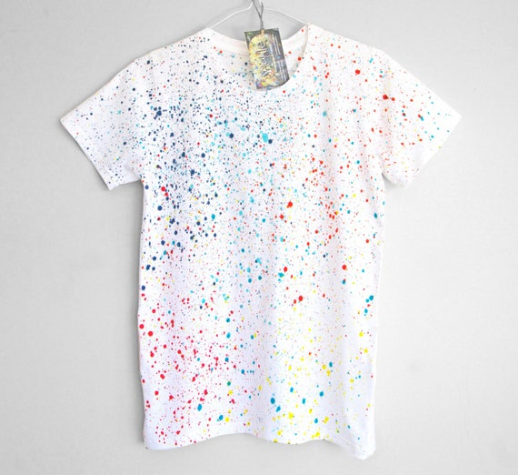 XS S COLOUR SPLASH t-shirt. 100% organic cotton t-shirt for women. Hand painted. Splash. Speckle.