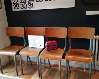 Sold.... Original Vintage Mid Century French Industrial School Chairs x4.... Sold