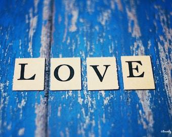 love, vintage, typography, Valentine, blue, fine art photography