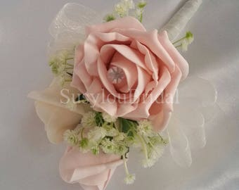 Wedding Flowers  In Vintage Peach And Apricot With Cream Gypsophila Corsage Pin On Button Hole Mother Of The Bride Groom