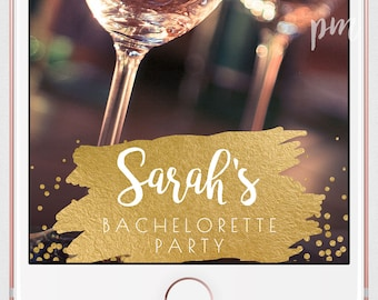 Bachelorette Party Snapchat Geofilter, Gold Geofilter, On Demand Geofilter, Gold Foil Personalized Geofilter for Bachelorette Party