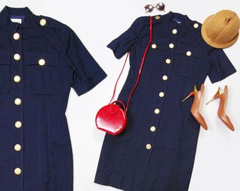 80s Sandra Ow-Wing for N.R.1 navy blue short sleeve military inspired dress - gold buttons