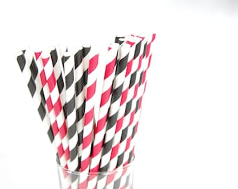 Red and Black Paper Straws - Set of 25 Straws - Pirate Birthday Party - Mickey Mouse - First Birthday