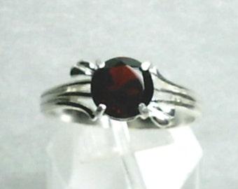 8mm Red Garnet Gemstone in 925 Sterling Silver Ring January Birthstone
