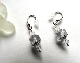 Earrings crystal clear Czech glass cathedral 925 Silver hooks / gift idea for woman / mother's day / Christmas