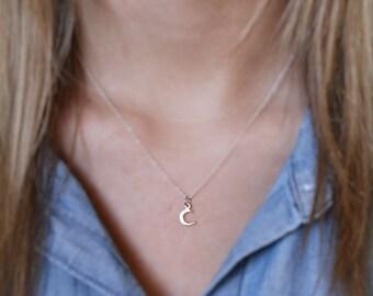 Tiny Moon Necklace - Tiny Sterling Silver Crescent Moon Necklace - Moon Charm - Crescent Moon Jewelry - Dainty Jewelry - Celestial Necklace