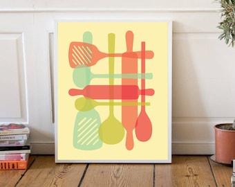 Mid Century Modern Kitchen Art DIGITAL DOWNLOAD Kitchen Printable Kitchen Poster Printable Art Kitchen Wall Art Printable Wall Art Kitchen