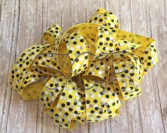 Grosgrain Ribbon by the Yard, 7/8 Printed Ribbon, Yellow Grosgrain, Black White Silver Foil Confetti Dot print, USDR Ribbon Wholesale Supply