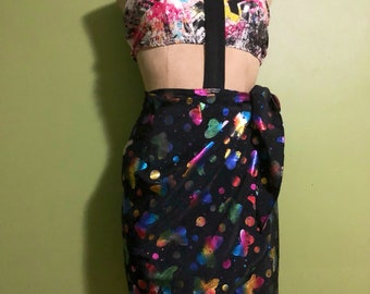 Iridescent festival black rainbow butterflies wrap skirt