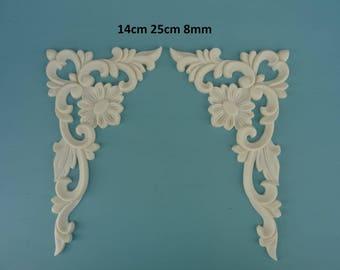 Decorative large corner flower scrolls x 2 applique furniture moulding Z16