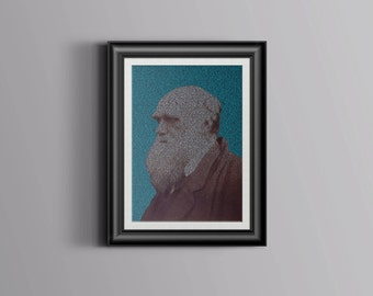Evolution poster - Charles Darwin portrait made from mosaic of Origin of Species text - science poster - biology poster - biology art