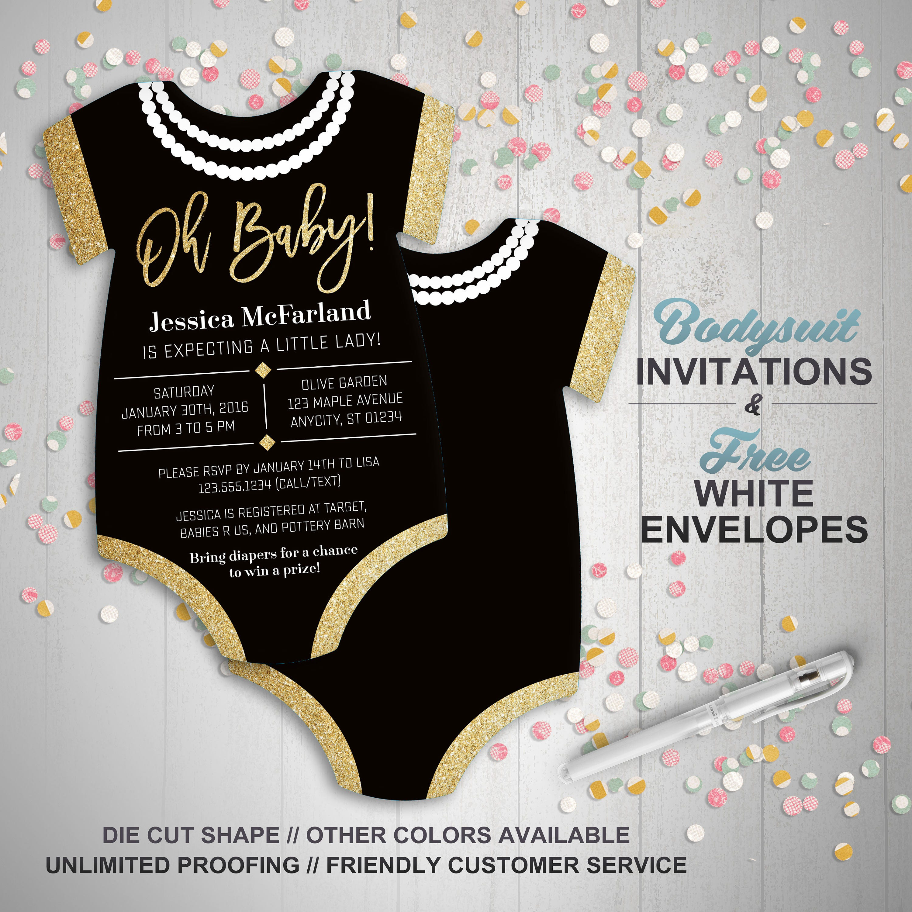 Glitter & Pearls Baby Shower Invitations girl baby shower