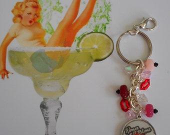 Woman to Blame margaritaville parrothead jimmy buffett beaded key chain purse  mirror cameo charm ring
