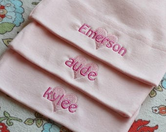Reserved Listing....Personalized Twins Baby Girl Hats -  American Apparel Knot Hat with names - FREE SHIPPING