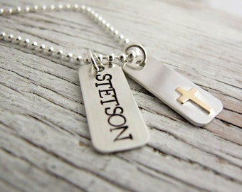 Communion Jewelry, First Confirmation Necklace, Communion Gift, Hand Stamped Necklace for Boy or Girl, Faith, Cross, Sterling Silver