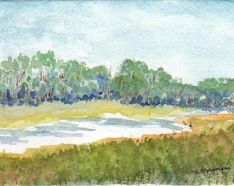 OOAK Original Watercolor - Cow Meadow