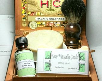 Shaving kit with Black Badger Shave Brush Men Gifts