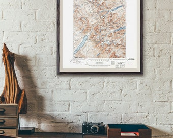 Glacier National Park Map / Montana Topographic Map Print