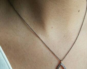 Pave Diamond Leaf pendant necklace