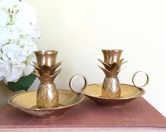 Vintage Brass, Pineapple Candleholders, Set of 2, Handled Candleholders, Candle Holders