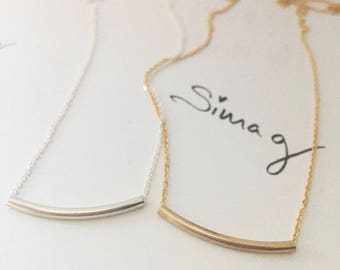 The Original Golden Gold Bar -  Balance Tube Bar Gold OR  Silver Necklace - By SimaG
