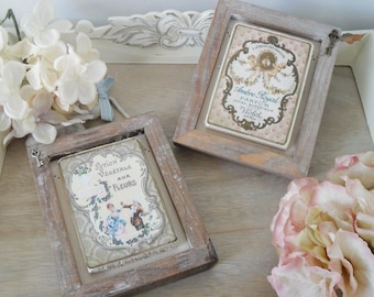 VINTAGE STYLE French Advert Sign, Frame, Decoupage, Choice of 2 Designs, Bathroom, Home Decor