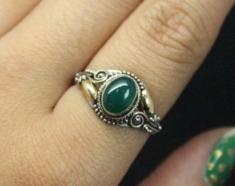 Green Onyx Vintage 14k Gold Plated Silver Ring | Thin Vintage Silver Ring | Green and Silver Ring | Green Onyx Ring