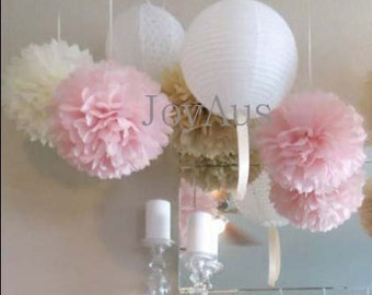 Pink Cream Pom Poms & White Paper Lanterns for Wedding Engagement Anniversary Birthday Party Bridal Baby Shower Decoration
