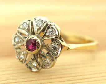Diamond Gold Ring, Diamond Ring, Ruby Gold Ring, Ruby Ring, Gold Flower Ring, Evening Jewelry, Birthstone Ring, Gemstone Ring