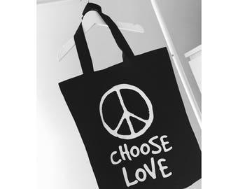 Choose Love Black Totebag Shopper